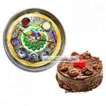Golden Thali With Green Design And Half Kg Eggless Chocolate Truffle Cake