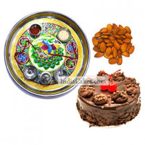 Golden Thali With Green Design And Half Kg Eggless Chocolate Truffle Cake And 250 gms Almond Dryfruits