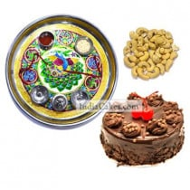 Golden Thali With Green Design And Half Kg Eggless Chocolate Truffle Cake And 250 gms Cashew Dryfruits
