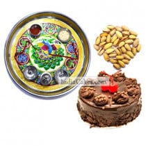 Golden Thali With Green Design And Half Kg Eggless Chocolate Truffle Cake And 250 gms Pista Dryfruits