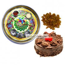 Golden Thali With Green Design And Half Kg Eggless Chocolate Truffle Cake And 250 gms Raisins Dryfruits