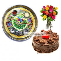 Golden Thali With Green Design And Half Kg Eggless Chocolate Truffle Cake And 10 Mix Roses Bunch