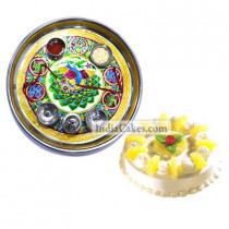 Golden Thali With Green Design And Half Kg Eggless Pineapple Cake