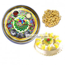 Golden Thali With Green Design And Half Kg Eggless Pineapple Cake And 250 gms Cashew Dryfruits