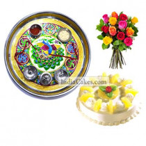 Golden Thali With Green Design And Half Kg Eggless Pineapple Cake And 10 Mix Roses Bunch