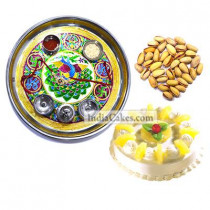 Golden Thali With Green Design And Half Kg Eggless Pineapple Cake And 250 gms Pista Dryfruits