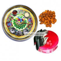 Golden Thali With Green Design And Half Kg Eggless Strawberry Cake And 250 gms Almond Dryfruits