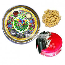 Golden Thali With Green Design And Half Kg Eggless Strawberry Cake And 250 gms Cashew Dryfruits