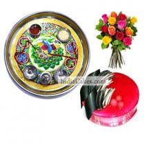 Golden Thali With Green Design And Half Kg Eggless Strawberry Cake And 10 Mix Roses Bunch