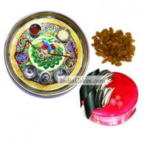 Golden Thali With Green Design And Half Kg Eggless Strawberry Cake And 250 gms Raisins Dryfruits