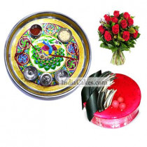 Golden Thali With Green Design And Half Kg Eggless Strawberry Cake And 10 Red Roses Bunch