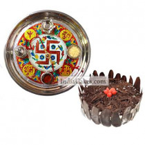Golden Thali With Red Design And Half Kg Eggless Black Forest Cake