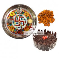 Golden Thali With Red Design And Half Kg Eggless Black Forest Cake And 250 gms Almond Dryfruits