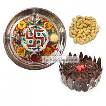 Golden Thali With Red Design And Half Kg Eggless Black Forest Cake And 250 gms Cashew Dryfruits