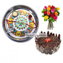Silver Thali With Design And Half Kg Eggless Black Forest Cake And 10 Mix Roses Bunch
