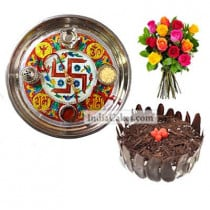 Golden Thali With Red Design And Half Kg Eggless Black Forest Cake And 10 Mix Roses Bunch