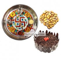Golden Thali With Red Design And Half Kg Eggless Black Forest Cake And 250 gms Pista Dryfruits