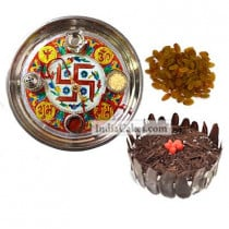 Golden Thali With Red Design And Half Kg Eggless Black Forest Cake And 250 gms Raisins Dryfruits