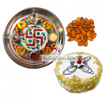 Golden Thali With Red Design And Half Kg Eggless Butterscotch Cake And 250 gms Almond Dryfruits
