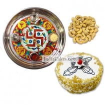 Golden Thali With Red Design And Half Kg Eggless Butterscotch Cake And 250 gms Cashew Dryfruits