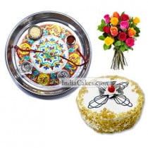 Silver Thali With Design And Half Kg Eggless Butterscotch Cake And 10 Mix Roses Bunch