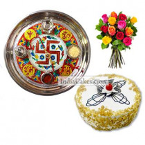 Golden Thali With Red Design And Half Kg Eggless Butterscotch Cake And 10 Mix Roses Bunch