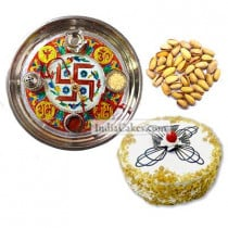 Golden Thali With Red Design And Half Kg Eggless Butterscotch Cake And 250 gms Pista Dryfruits