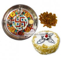 Golden Thali With Red Design And Half Kg Eggless Butterscotch Cake And 250 gms Raisins Dryfruits