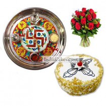 Golden Thali With Red Design And Half Kg Eggless Butterscotch Cake And 10 Red Roses Bunch