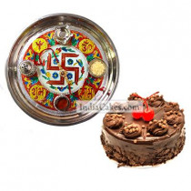 Golden Thali With Red Design And Half Kg Eggless Chocolate Truffle Cake