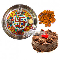 Golden Thali With Red Design And Half Kg Eggless Chocolate Truffle Cake And 250 gms Almond Dryfruits