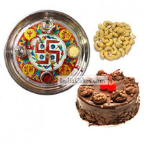 Golden Thali With Red Design And Half Kg Eggless Chocolate Truffle Cake And 250 gms Cashew Dryfruits