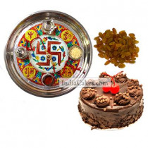 Golden Thali With Red Design And Half Kg Eggless Chocolate Truffle Cake And 250 gms Raisins Dryfruits