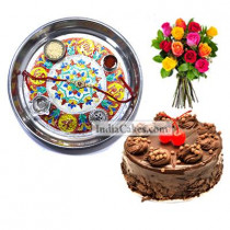 Silver Thali With Design And Half Kg Eggless Chocolate Truffle Cake And 10 Mix Roses Bunch