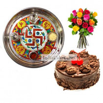 Golden Thali With Red Design And Half Kg Eggless Chocolate Truffle Cake And 10 Mix Roses Bunch