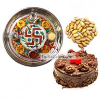 Golden Thali With Red Design And Half Kg Eggless Chocolate Truffle Cake And 250 gms Pista Dryfruits