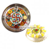 Golden Thali With Red Design And Half Kg Eggless Pineapple Cake