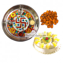 Golden Thali With Red Design And Half Kg Eggless Pineapple Cake And 250 gms Almond Dryfruits