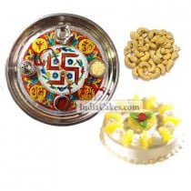 Golden Thali With Red Design And Half Kg Eggless Pineapple Cake And 250 gms Cashew Dryfruits