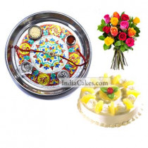 Silver Thali With Design And Half Kg Eggless Pineapple Cake And 10 Mix Roses Bunch