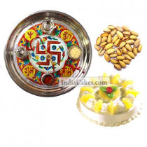Golden Thali With Red Design And Half Kg Eggless Pineapple Cake And 250 gms Pista Dryfruits
