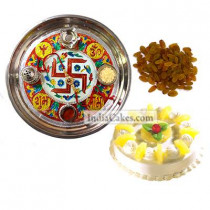 Golden Thali With Red Design And Half Kg Eggless Pineapple Cake And 250 gms Raisins Dryfruits