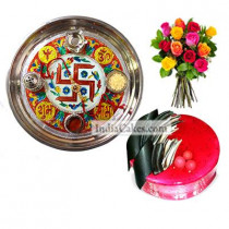Golden Thali With Red Design And Half Kg Eggless Strawberry Cake And 10 Mix Roses Bunch