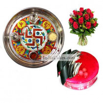Golden Thali With Red Design And Half Kg Eggless Strawberry Cake And 10 Red Roses Bunch