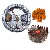 Silver Thali And Half Kg Eggless Black Forest Cake And 250 gms Almond Dryfruits