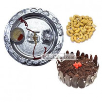Silver Thali And Half Kg Eggless Black Forest Cake And 250 gms Cashew Dryfruits
