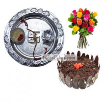 Silver Thali And Half Kg Eggless Black Forest Cake And 10 Mix Roses Bunch