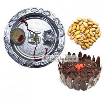 Silver Thali And Half Kg Eggless Black Forest Cake And 250 gms Pista Dryfruits
