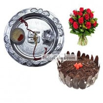 Silver Thali And Half Kg Eggless Black Forest Cake And 10 Red Roses Bunch