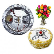 Silver Thali And Half Kg Eggless Butterscotch Cake And 10 Mix Roses Bunch